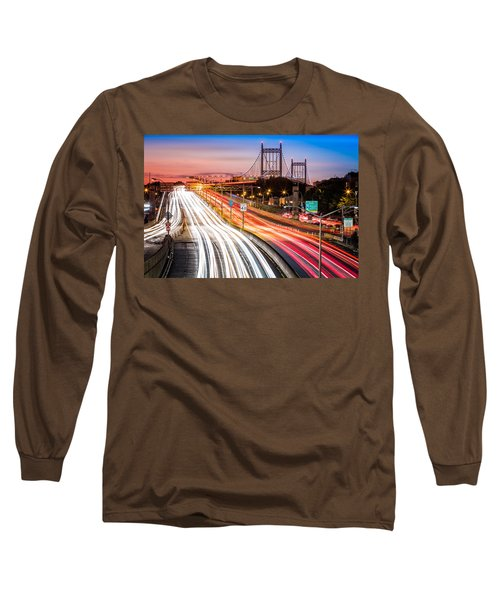 Light Trails On I-278 Near Triboro Bridge Long Sleeve T-Shirt