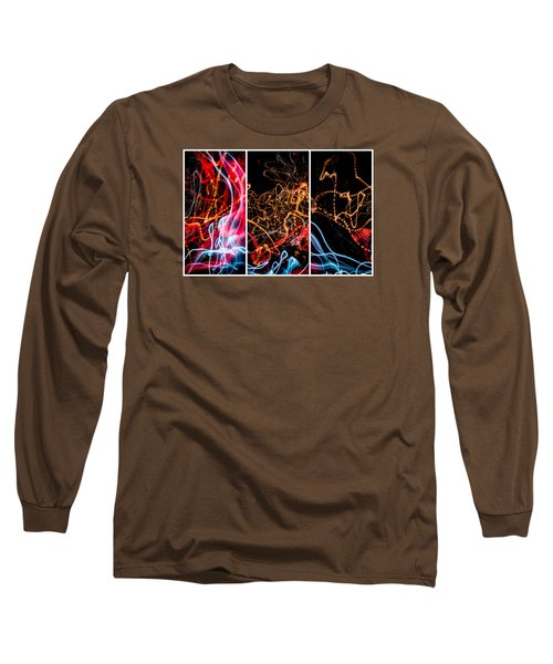 Lightpainting Triptych Wall Art Print Photograph 5 Long Sleeve T-Shirt by John Williams