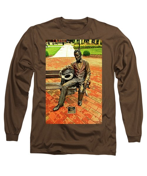 Long Sleeve T-Shirt featuring the photograph Lincoln Library Statue 004 by George Bostian