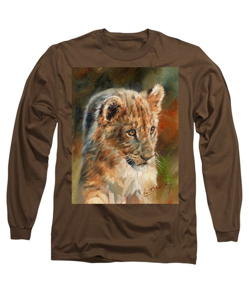 Long Sleeve T-Shirt featuring the painting Lion Cub Portrait by David Stribbling