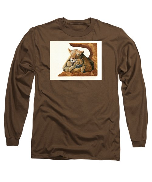 Long Sleeve T-Shirt featuring the painting Lion - Protect Our Children Painting by Linda Apple