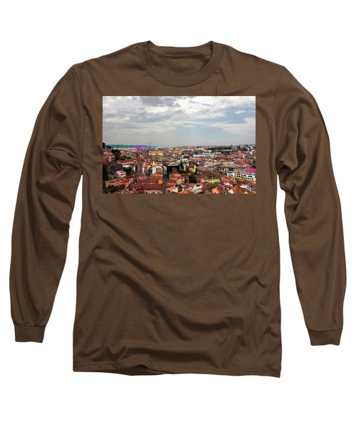 Long Sleeve T-Shirt featuring the photograph Lisbon's Chaos Of Color by Lorraine Devon Wilke