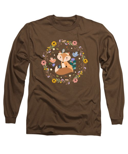 Little Princess Fox With Friends And Foliage Long Sleeve T-Shirt