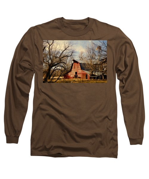Long Sleeve T-Shirt featuring the photograph Little Red Barn by Lana Trussell