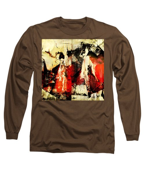 Little Red Riding Hood And The Big Bad Wolf Under A Yellow Moon Long Sleeve T-Shirt by Jeff Burgess