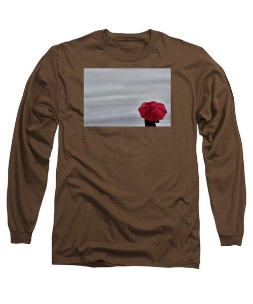 Little Red Umbrella In A Big Universe Long Sleeve T-Shirt by Don Schwartz