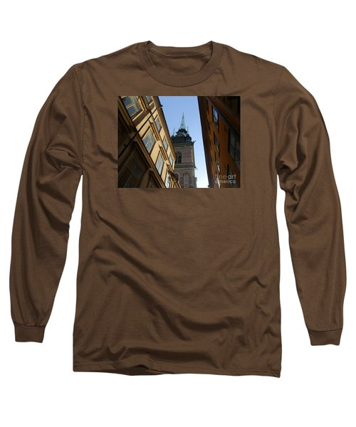 Looking Up From A Stockholm Street Long Sleeve T-Shirt by Margaret Brooks