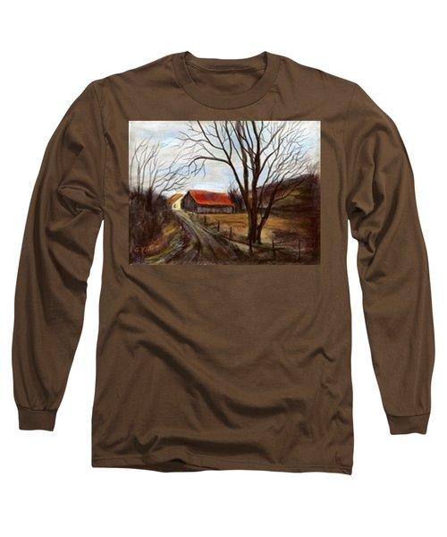 Long Sleeve T-Shirt featuring the painting Louisa Kentucky Barn by Gail Kirtz