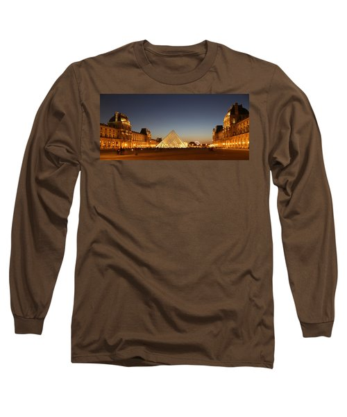 Long Sleeve T-Shirt featuring the photograph Louvre At Night 2 by Andrew Fare