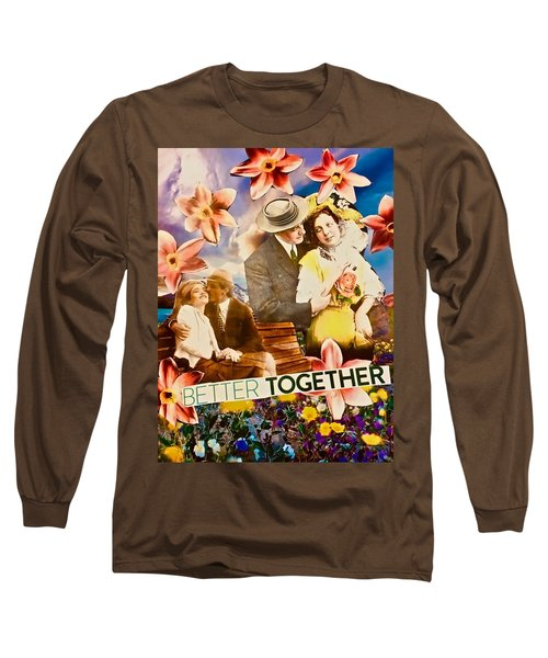 Long Sleeve T-Shirt featuring the mixed media Lovers Together by Joan Reese