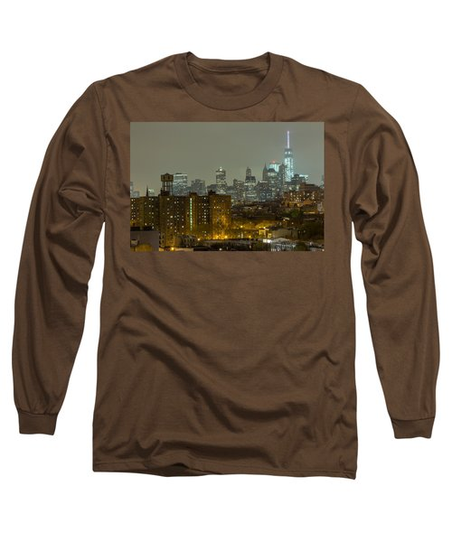 Lower Manhattan Cityscape Seen From Brooklyn Long Sleeve T-Shirt