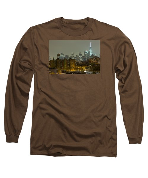 Lower Manhattan Cityscape Seen From Brooklyn Long Sleeve T-Shirt