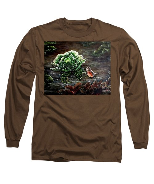 Long Sleeve T-Shirt featuring the painting Lunch In The Garden by Judy Kirouac