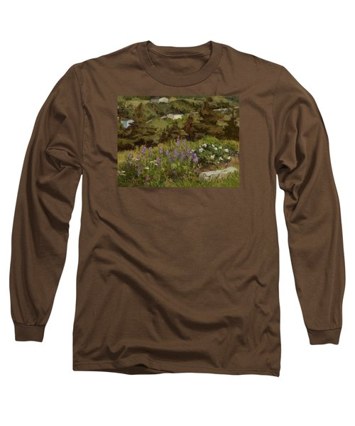Lupine And Wild Roses Long Sleeve T-Shirt by Jane Thorpe
