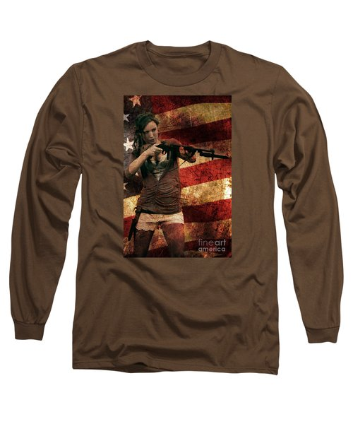 M1 Carbine On American Flag Long Sleeve T-Shirt by David Bazabal Studios