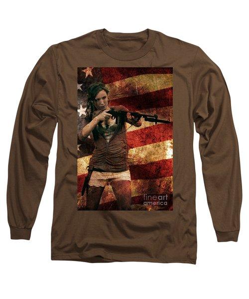 M1 Carbine On American Flag Long Sleeve T-Shirt