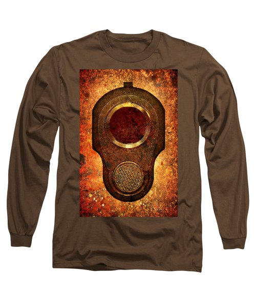 M1911 Muzzle On Rusted Background Long Sleeve T-Shirt by M L C