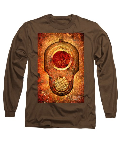M1911 Muzzle On Rusted Background - With Red Filter Long Sleeve T-Shirt by M L C