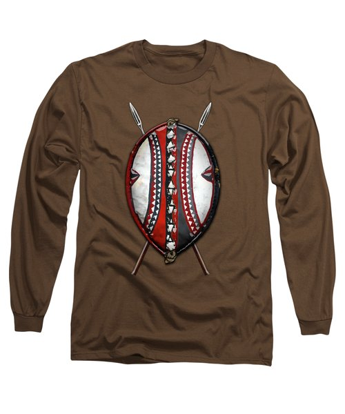 Maasai War Shield With Spears On Red Velvet  Long Sleeve T-Shirt