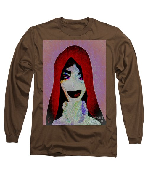Long Sleeve T-Shirt featuring the mixed media Madonna Mary by Ann Calvo
