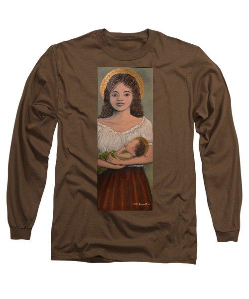 Madonna Of The Red Skirt Long Sleeve T-Shirt by Kathleen McDermott