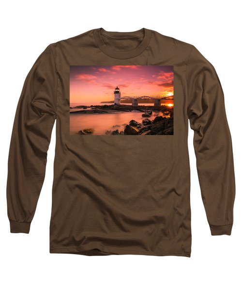 Maine Lighthouse Marshall Point At Sunset Long Sleeve T-Shirt