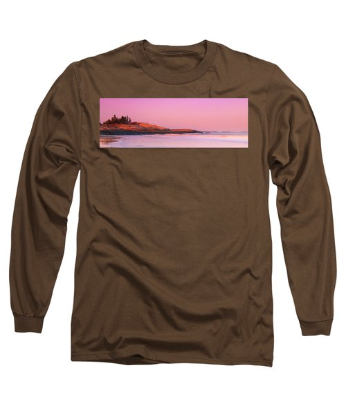 Maine Sheepscot River Bay With Cuckolds Lighthouse Sunset Panorama Long Sleeve T-Shirt by Ranjay Mitra