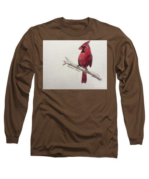 Male Cardinal In Winter Long Sleeve T-Shirt