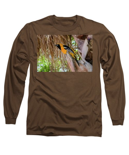 Male Hooded Oriole H17 Long Sleeve T-Shirt by Mark Myhaver