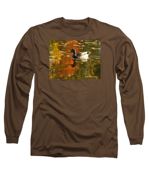 Long Sleeve T-Shirt featuring the photograph Mallard Duck In The Fall by Emmy Marie Vickers