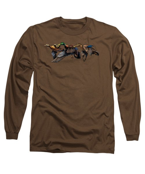 Mallard Ducks In Flight Long Sleeve T-Shirt