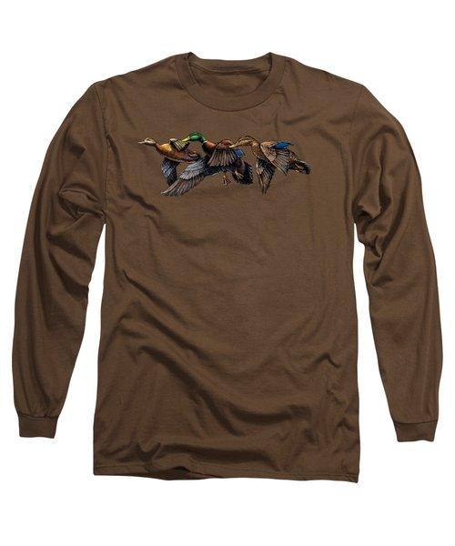 Mallard Ducks In Flight Long Sleeve T-Shirt