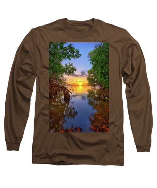 Mangrove Sunset From Jensen Beach Florida Long Sleeve T-Shirt
