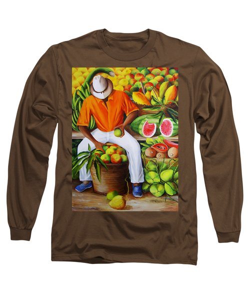 Manuel The Caribbean Fruit Vendor  Long Sleeve T-Shirt