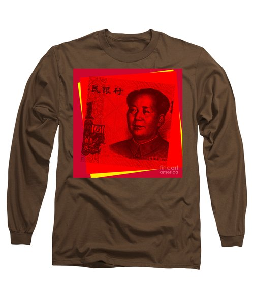 Long Sleeve T-Shirt featuring the digital art Mao Zedong Pop Art - One Yuan Banknote by Jean luc Comperat
