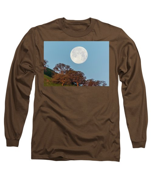 Long Sleeve T-Shirt featuring the photograph March Moonset by Marc Crumpler