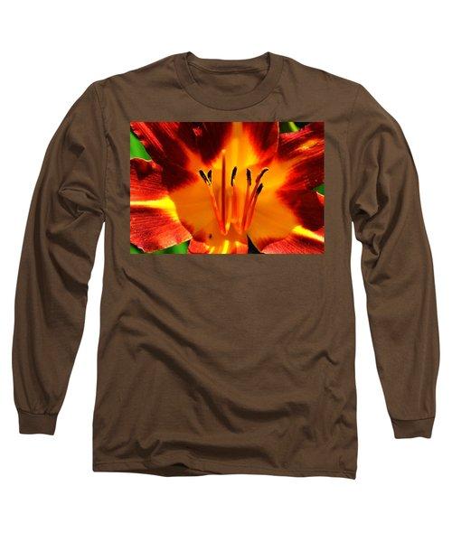 Maroon Lily Long Sleeve T-Shirt