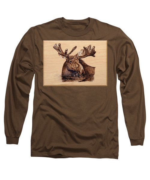 Marsh Moose Long Sleeve T-Shirt by Ron Haist