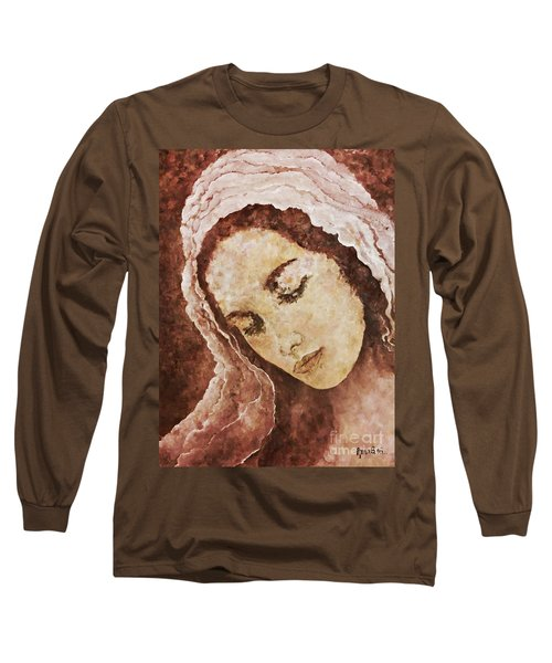 Mary Mother Of Jesus Long Sleeve T-Shirt by AmaS Art
