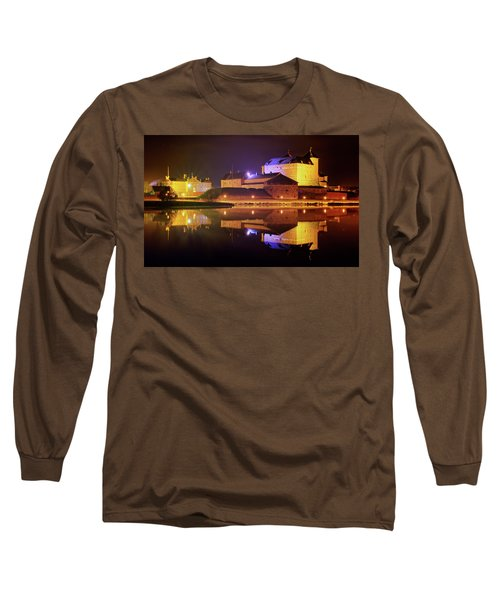 Medieval Castle By The Lake At Night Long Sleeve T-Shirt by Teemu Tretjakov