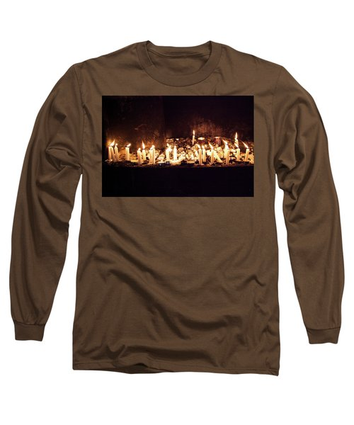 Memorial Candles Long Sleeve T-Shirt by Yoel Koskas