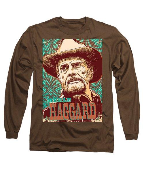 Merle Haggard Pop Art Long Sleeve T-Shirt