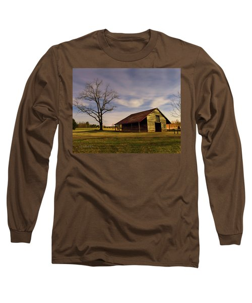 Midnight At The Mule Barn Long Sleeve T-Shirt by George Randy Bass