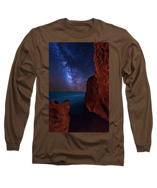 Milky Way Over Huchinson Island Beach Florida Long Sleeve T-Shirt by Justin Kelefas