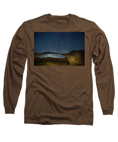 Milky Way Over Landscape Arch Long Sleeve T-Shirt