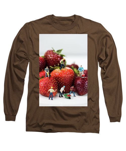 Miniature Construction Workers On Strawberries Long Sleeve T-Shirt