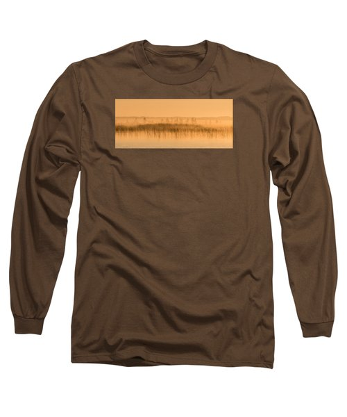 Misty Morning Floating Bog Island On Boy Lake Long Sleeve T-Shirt by Patti Deters