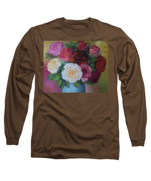 Mixed Roses In Turquoise Vase Long Sleeve T-Shirt