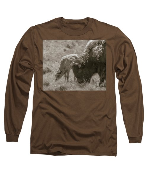 Long Sleeve T-Shirt featuring the photograph Mom And Baby Buffalo by Rebecca Margraf