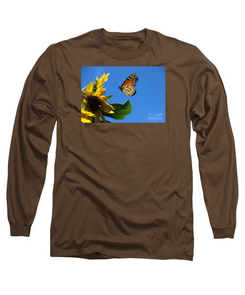 Monarch And Blue Sky  Long Sleeve T-Shirt by Yumi Johnson